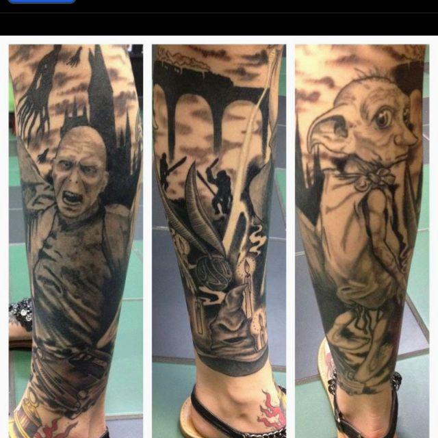 Harry potter leg sleeve by shamrock in ormond beach fl for Harry potter sleeve tattoo