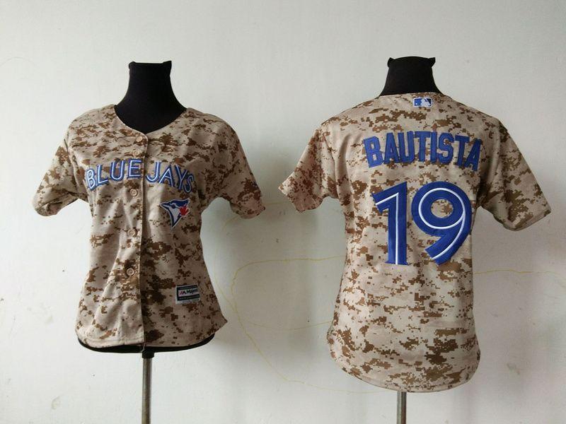 the latest ea453 c3722 2016 MLB Womens Toronto Blue Jays 19 Jose Bautista Camo ...