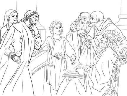 24++ Boy jesus at the temple coloring page HD