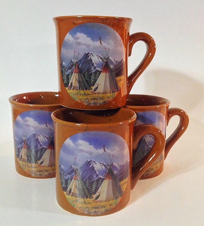 Native American Coffee Mugs Cups Indian Teepee Southwest Set 4