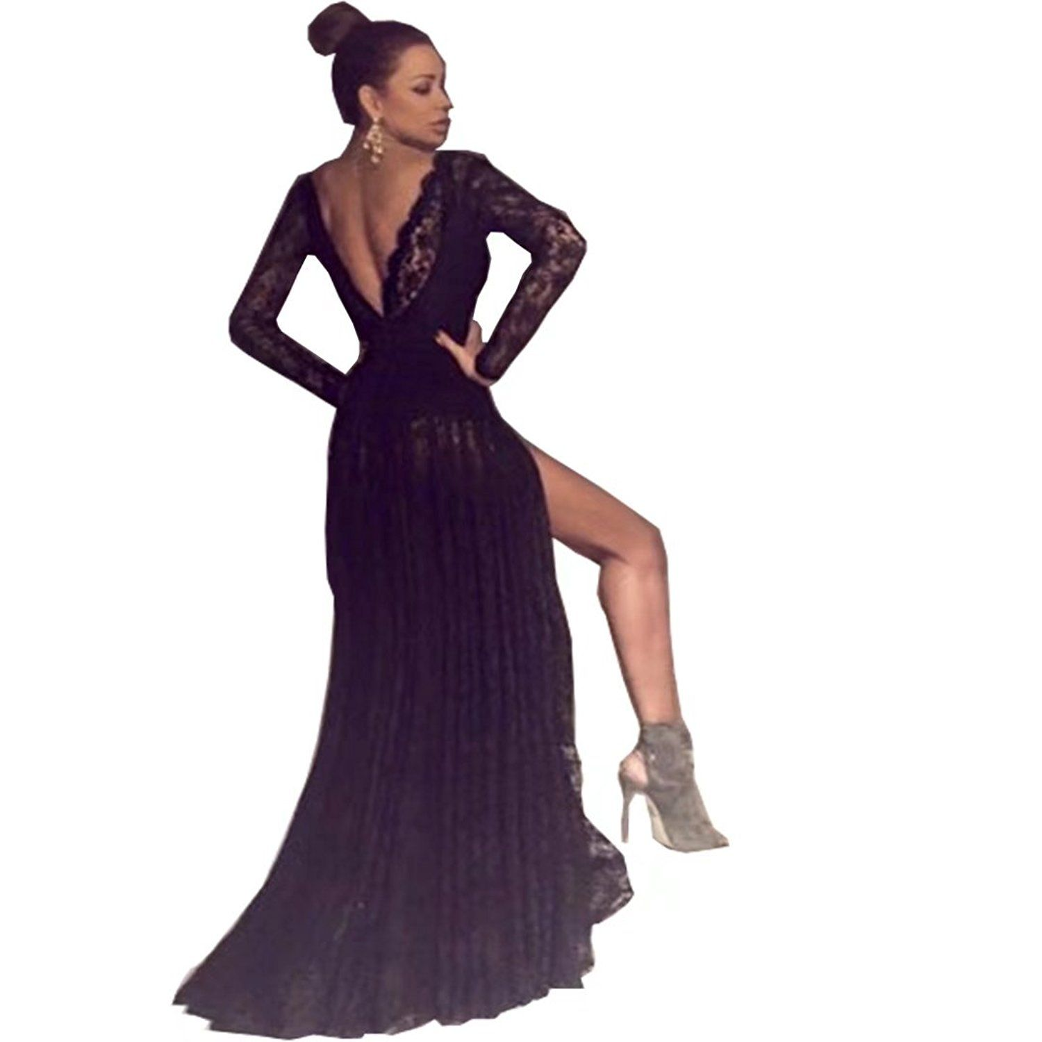 Chady sexy black lace v neck long prom dresses cheap backless