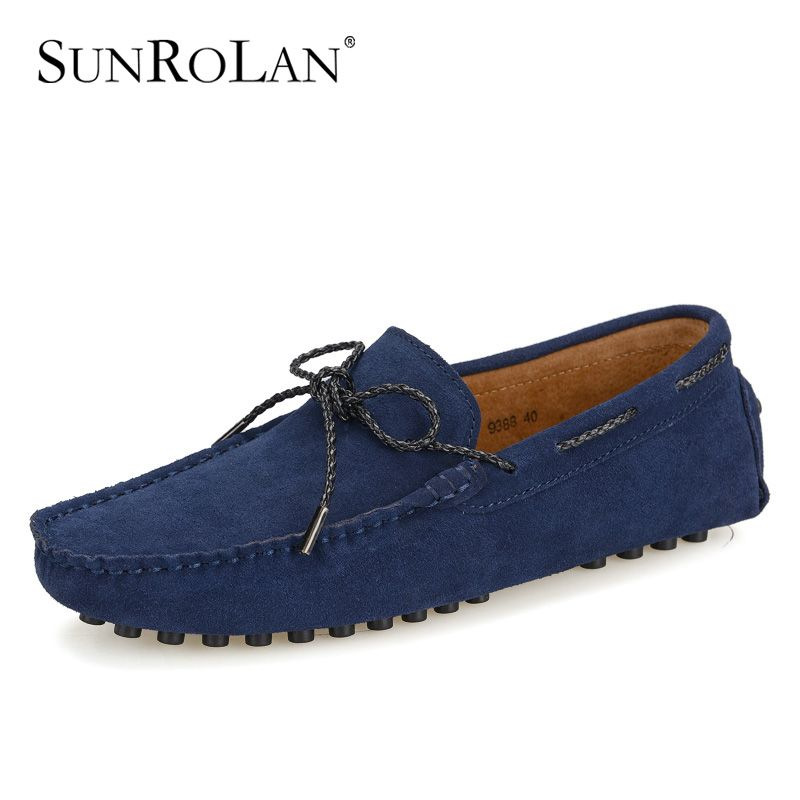 SUNROLAN Mens Suede Leather Dress Shoes Slip On Penny Loafers Driving Moccasin Shoes