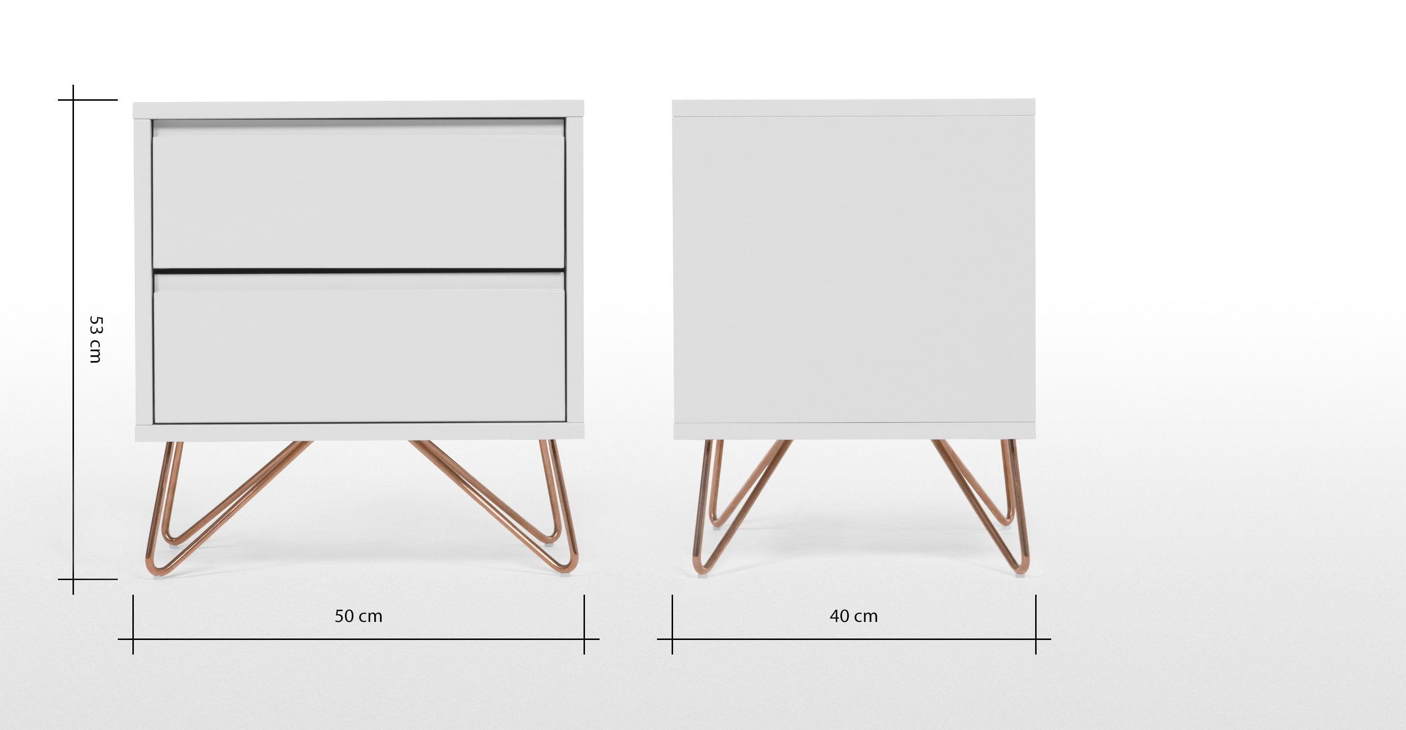 Elona Nachttisch, Grau Und Kupfer | Made.com