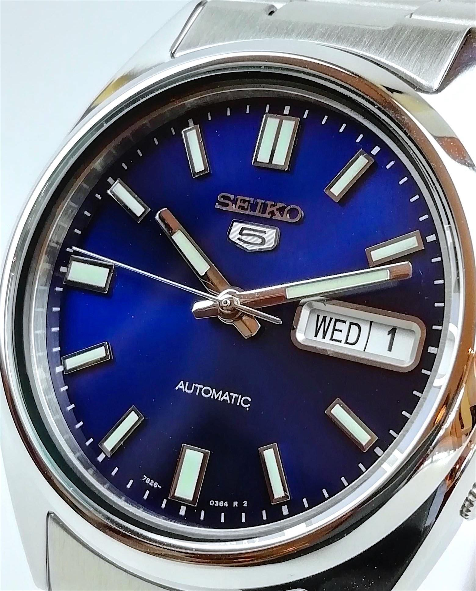 262230188 Seiko 5 Automatic Blue Dial Stainless Steel Men's Watch SNXS77 - WatchNation