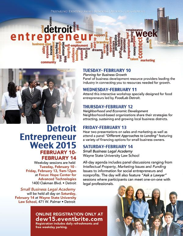 We're proud to partner on Detroit Entrepreneur Week 2015 - great speakers, great panels and tons of resources for small business owners! #DEW15