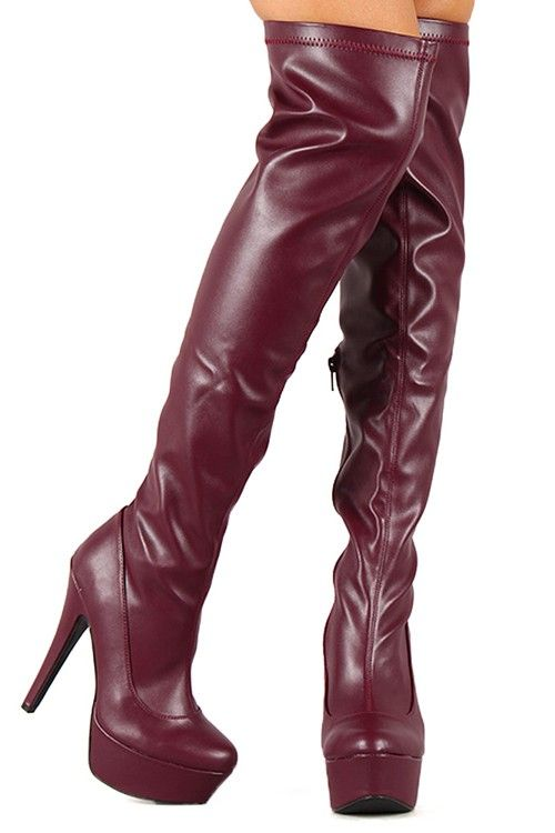 9bd2ab6d64b6 BURGUNDY FAUX LEATHER OVER THE KNEE PLATFORM BOOTS
