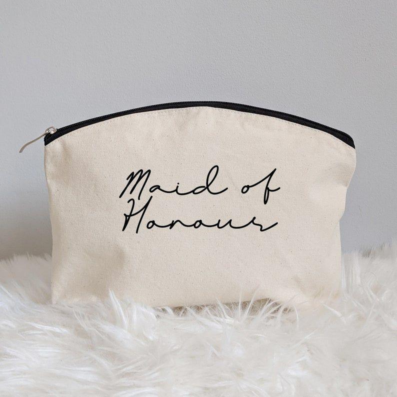Women Gift Ideas Bridesmaid Make Up Bag BlackAqua Maid Of Honor Makeup Bag Cute Make Up Bag