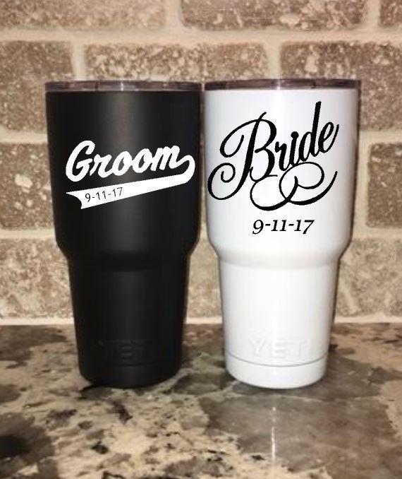 Diy Wedding Gifts For Bride And Groom: Bride & Groom 30 Oz Yeti Rambler Tumbler / Wedding / Black