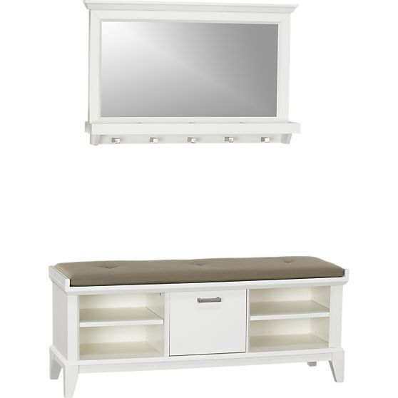 cratebarrel white small entryway benches with storage   Paterson White Bench with Cushion and Mirror in Entryway ...