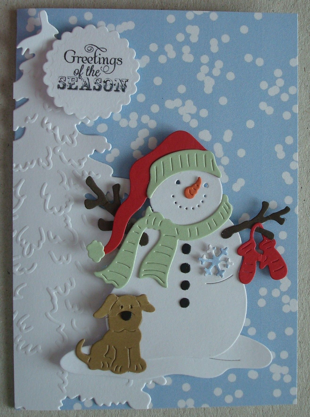 X054 Hand Made Christmas Card Using Cottage Cutz Snowman Die And Marianne Tree Die Christmas Cards Handmade Snowman Christmas Cards Xmas Cards Handmade