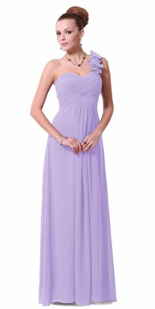 ELODIE Lilac One Shoulder Corsage Chiffon Maxi Prom Evening ...