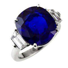 Exceptional Ten Carat Burma No Heat Sapphire Diamond Ring 10 Blue Sapphire Diamond Ring Platinum Diamond Rings Blue Sapphire Jewelry