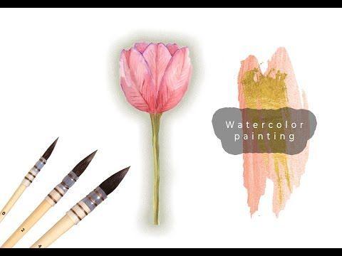 Sulu Boya Ile Lale Boyama Watercolor Tulip Painting Tutorial