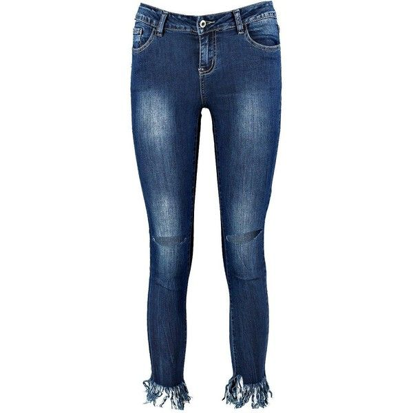 Boohoo Freiya Ultra Fray Hem Skinny Jeans | Boohoo featuring polyvore, women's fashion, clothing, jeans, cut skinny jeans, frayed hem jeans, skinny leg jeans, frayed hem skinny jeans and skinny jeans