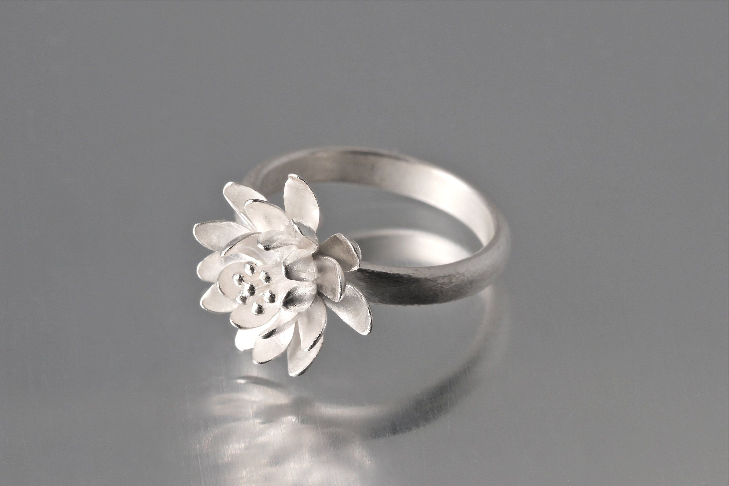 Handmade Silver Ring Set Women Jewelry Unique Gift for Her Floral Design Sterling Silver Topaz Rings Set Towards the Cold Sun