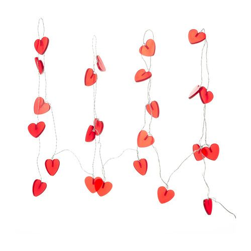 Ikea Ramsta Lighting Chain 24 Hearts Red The Led Light Source Consumes Up To 85 Less Energy And Lasts 20 Times Longer Than Incandescent Bulbs