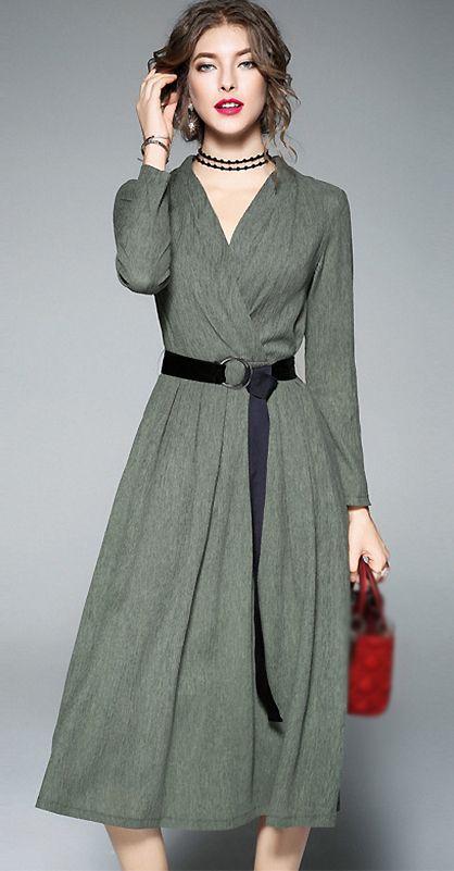 Brief V Neck Long Sleeve Belted A Line Dress Fashion Dresses Modest Dresses Fashion Design Dress