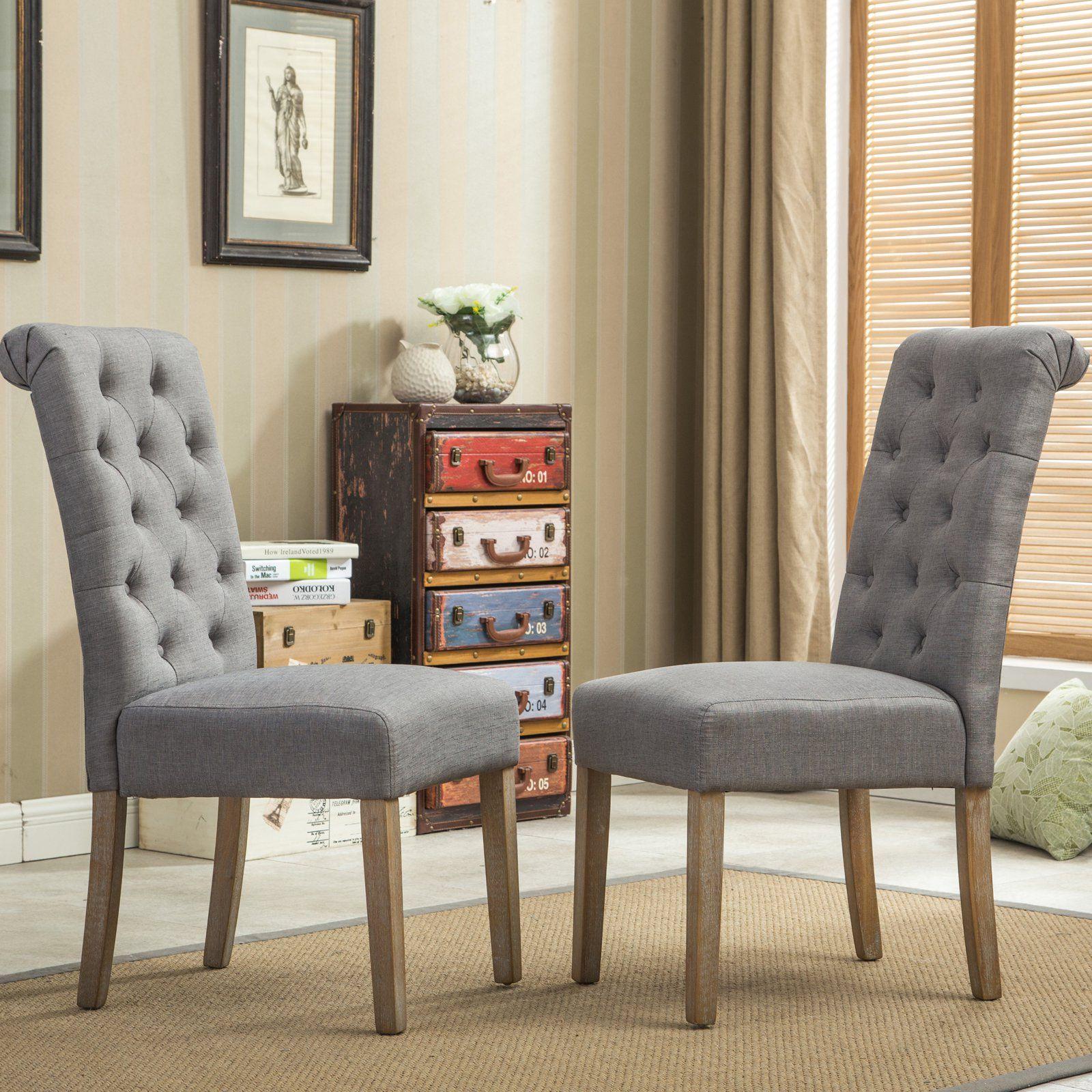 Roundhill Furniture Habit Tufted Parsons Dining Chair Set Of 2 Gray Parsons Dining Chairs Dining Chair Set Dining Chairs
