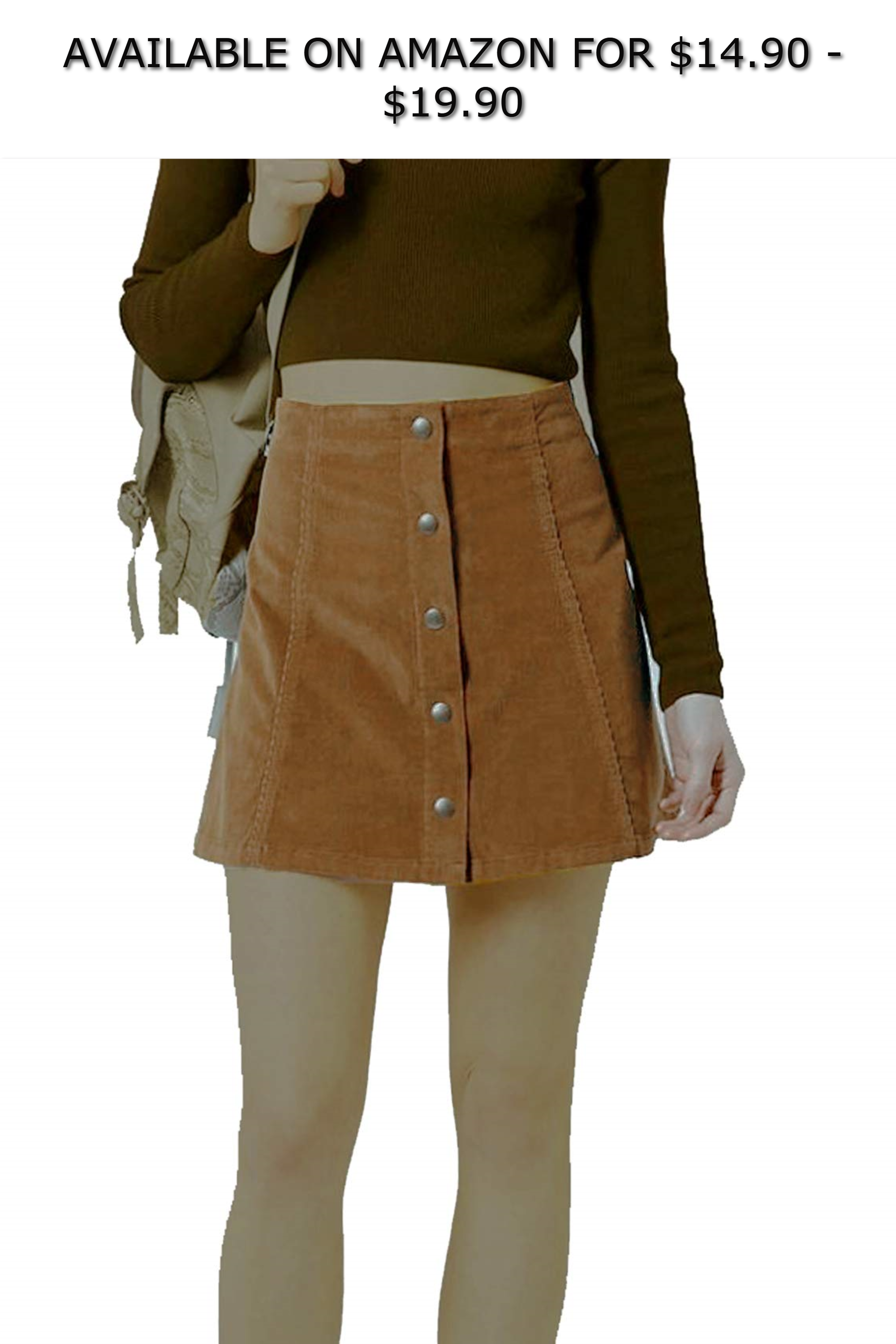 d48cc66631 Joanna Women's Corduroy Button Closure Mini A-Line Skirt ◇ AVAILABLE ON  AMAZON FOR: