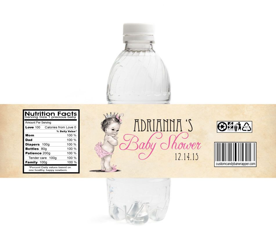 Vintage Girl Baby Shower Water Bottle Labels | Water Bottle Labels ...