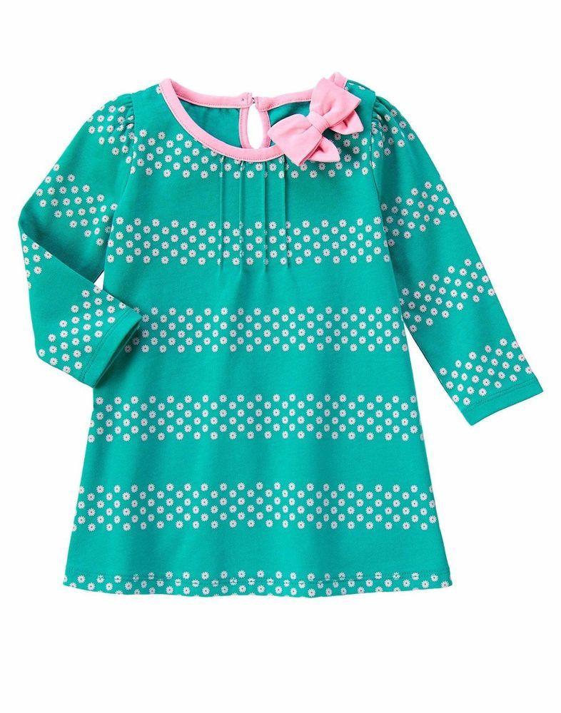 NWT Gymboree Hop N Roll Pink Knit White Flower Dress Girls Size 6