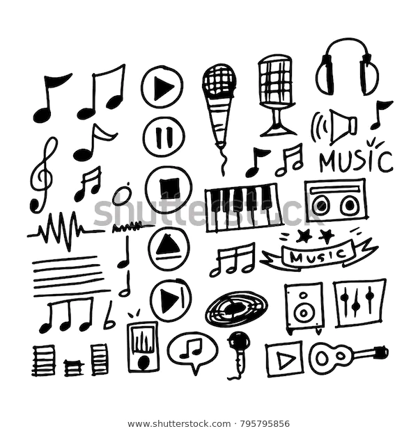 Hand Drawn Music Icon Stock Vector Royalty Free 795795856 How To Draw Hands Music Icon Music Notes
