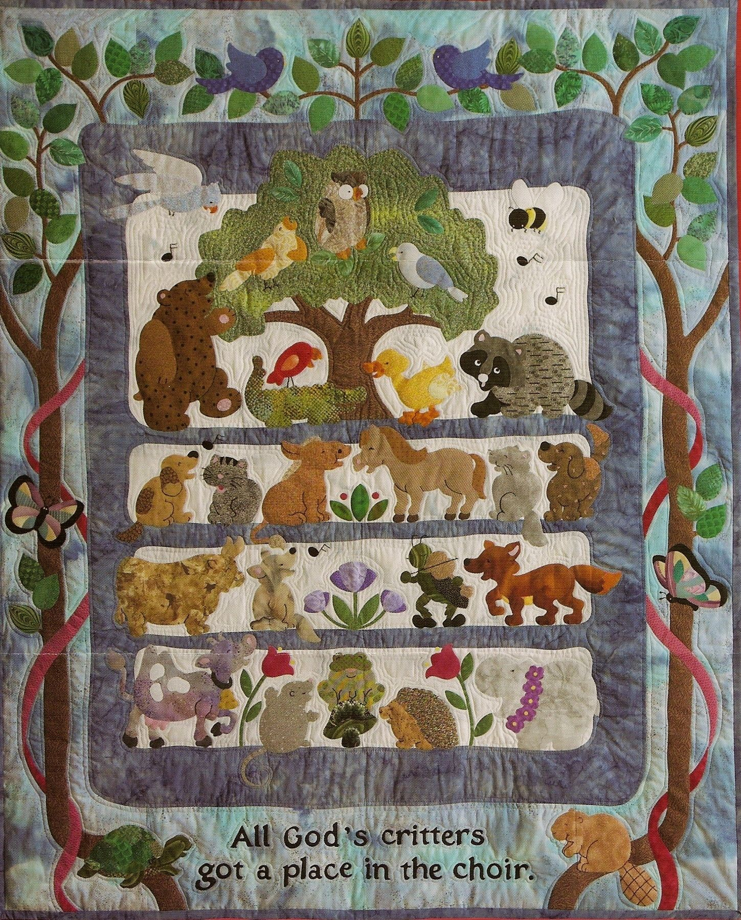 All God S Critters Have A Place In The Choir Picture Quilts Animal Quilts