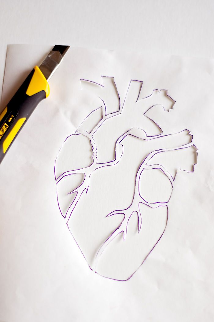 stencil and embroidery pattern for anatomical hearts