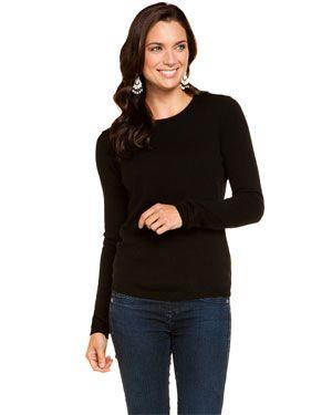 a18b7684969398 Sofia Cashmere Black Cashmere Crewneck Sweater