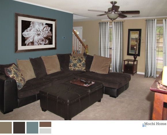 teal and brown living room | peacock teal, chocolate brown and