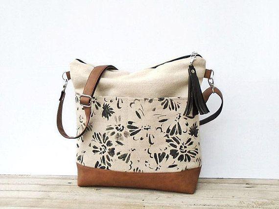 Canvas Crossbody Bag Zipper Large Medium Jute Shoulder