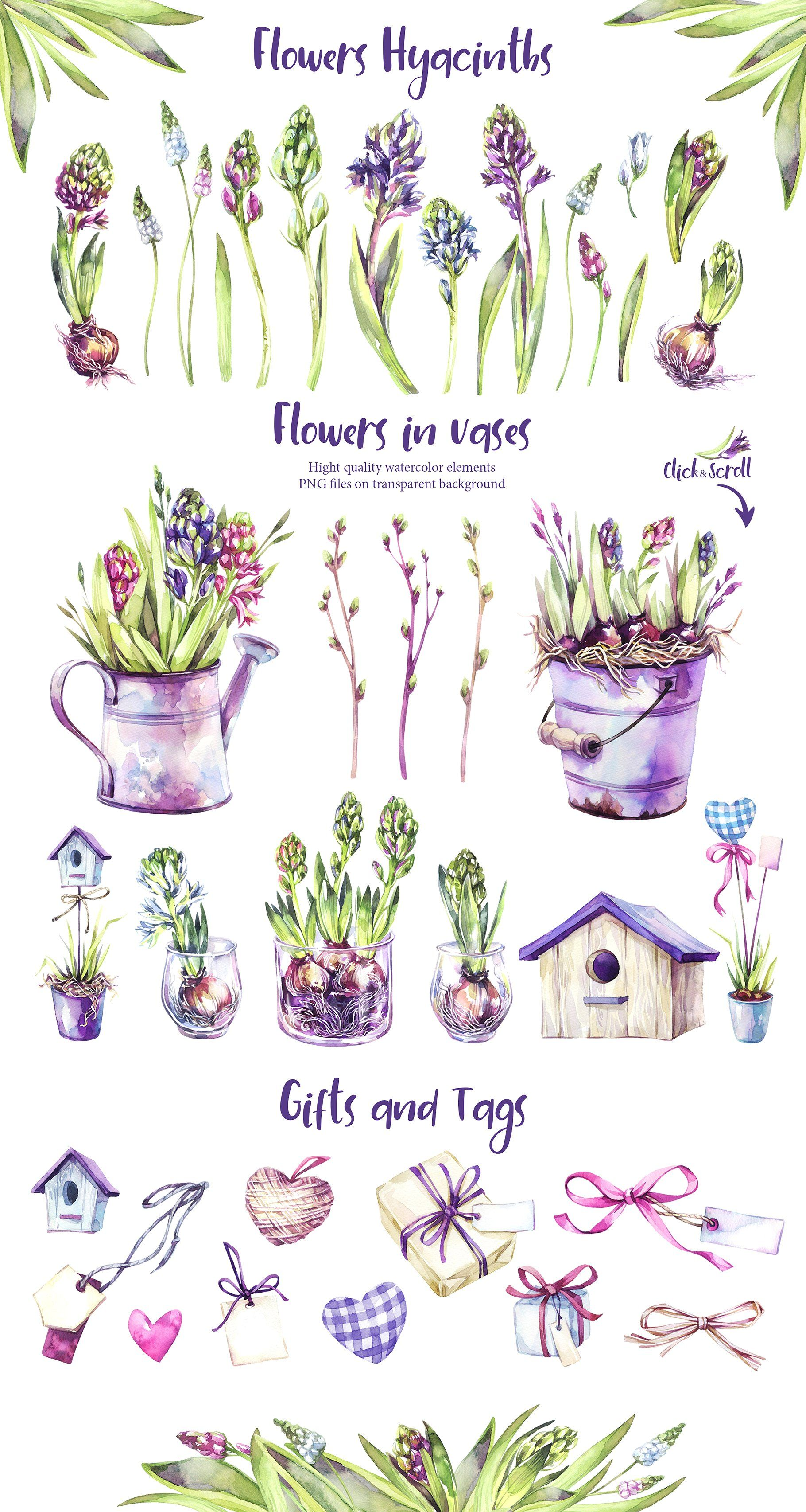 """""""Spring Time"""" watercolor collection by Anastezia Luneva on @creativemarket"""