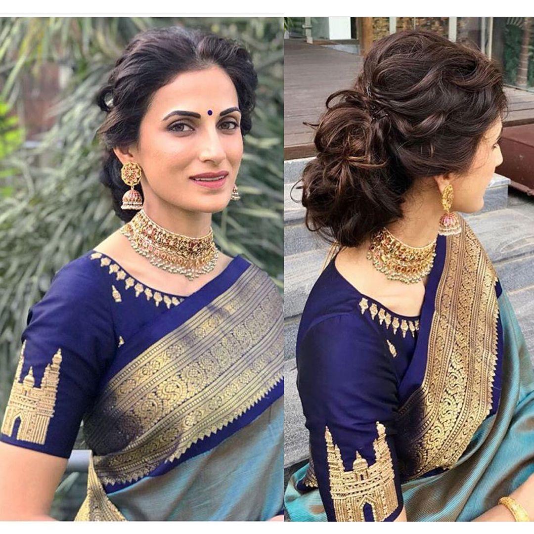 Image May Contain 1 Person Closeup Saree Hairstyles Saree Blouse Designs Blouse Designs
