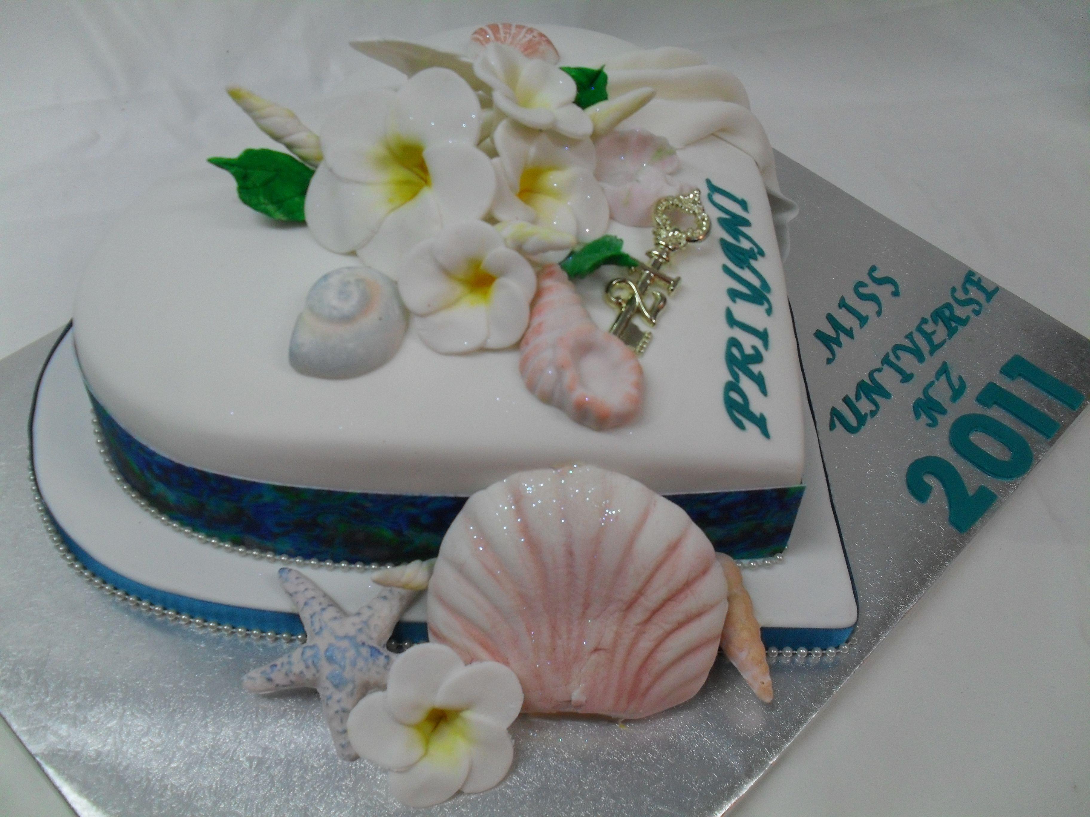 Edible Cake Images New Zealand : Beautiful heart shaped cake with edible Paua shell ribbon ...