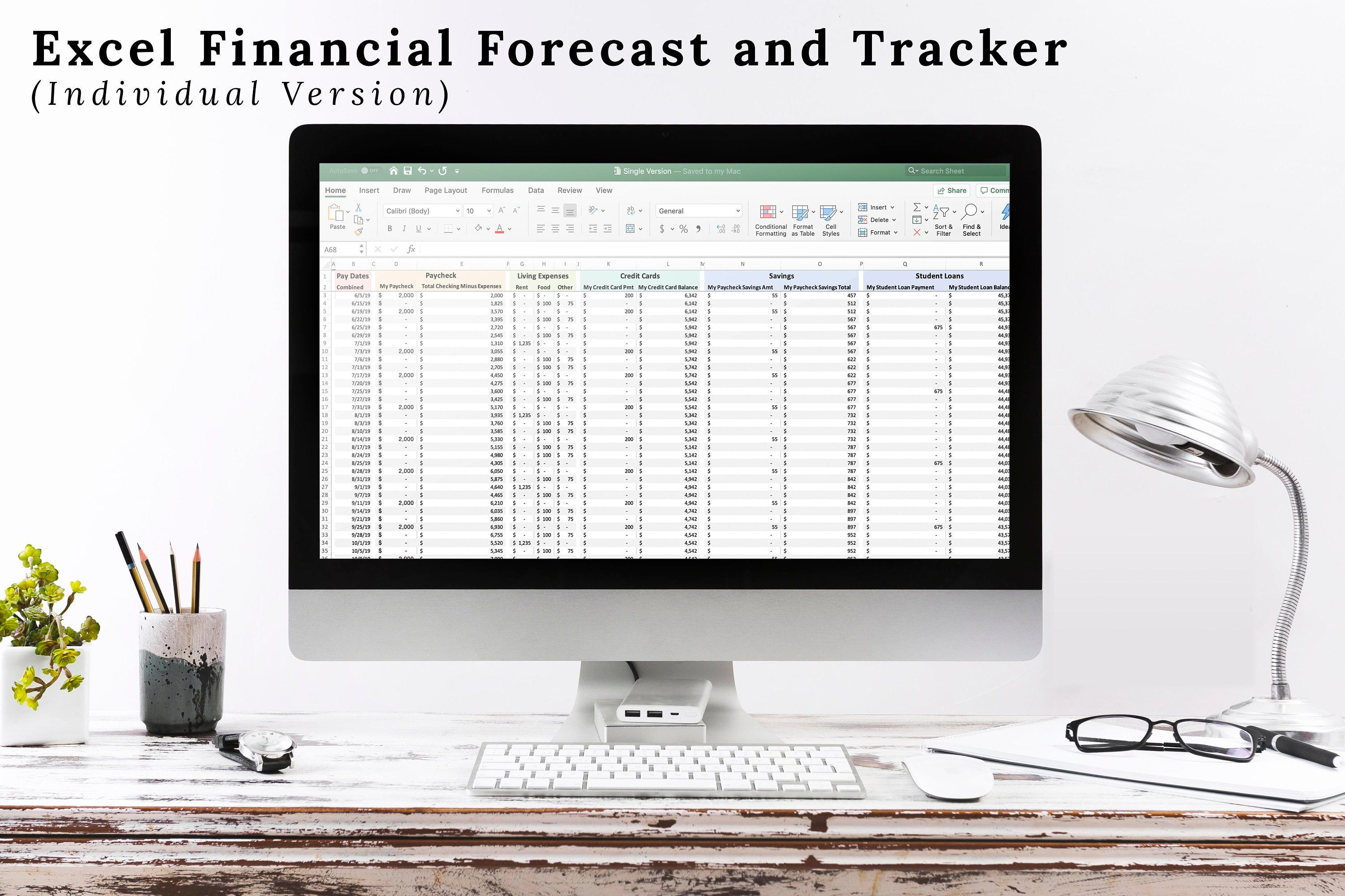 Excel Personal Finance Financial Forecast And Tracker