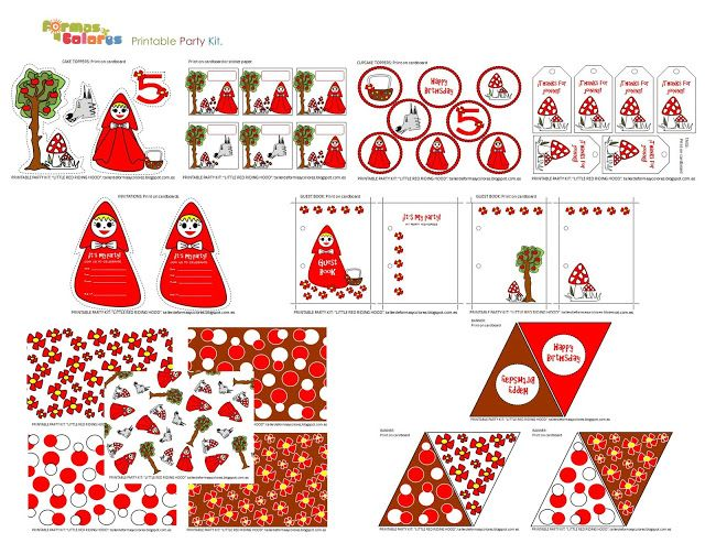 Formas y Colores: TIENDA ON LINE  Printable Party Kit: Little Riding Red Hood.