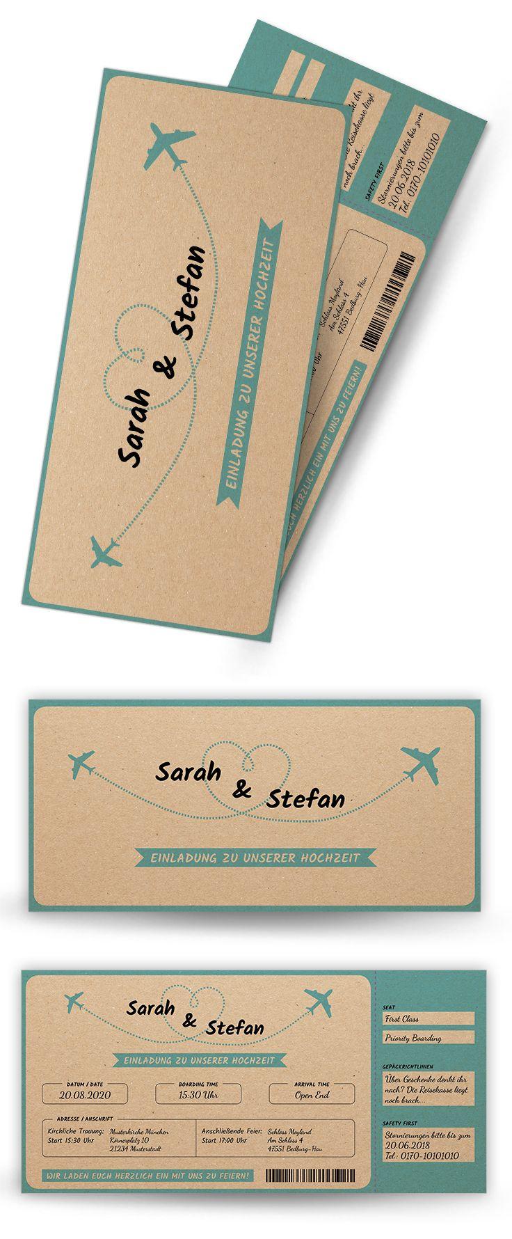 Esg hochzeitseinladung vintage flugticket auf kraftpapier eintrittskarte diese edle eintrittskarte im vintage style überzeugt mit ihrem einfac