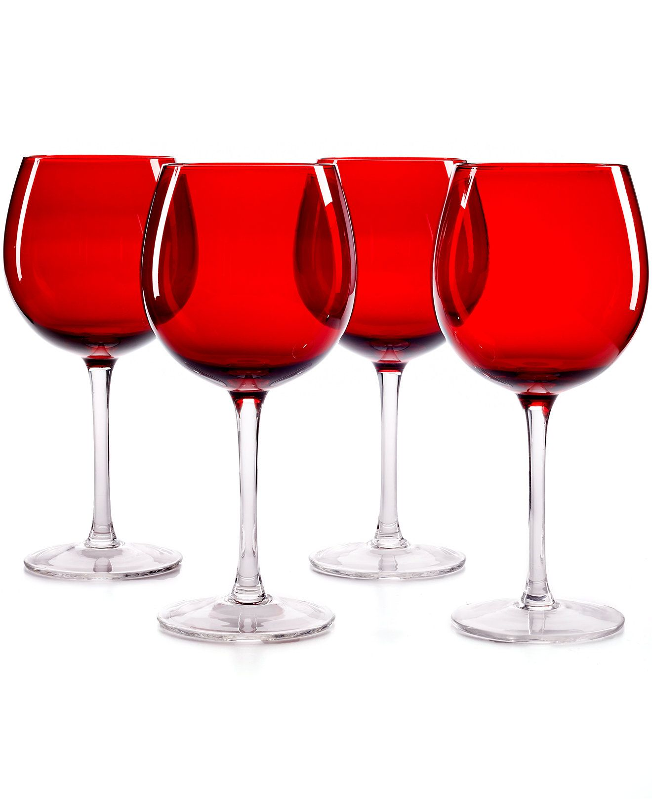 The Cellar Set Of 4 Red Balloon Wine Glasses Macy S Glassware Collection Glassware Glasses Shop