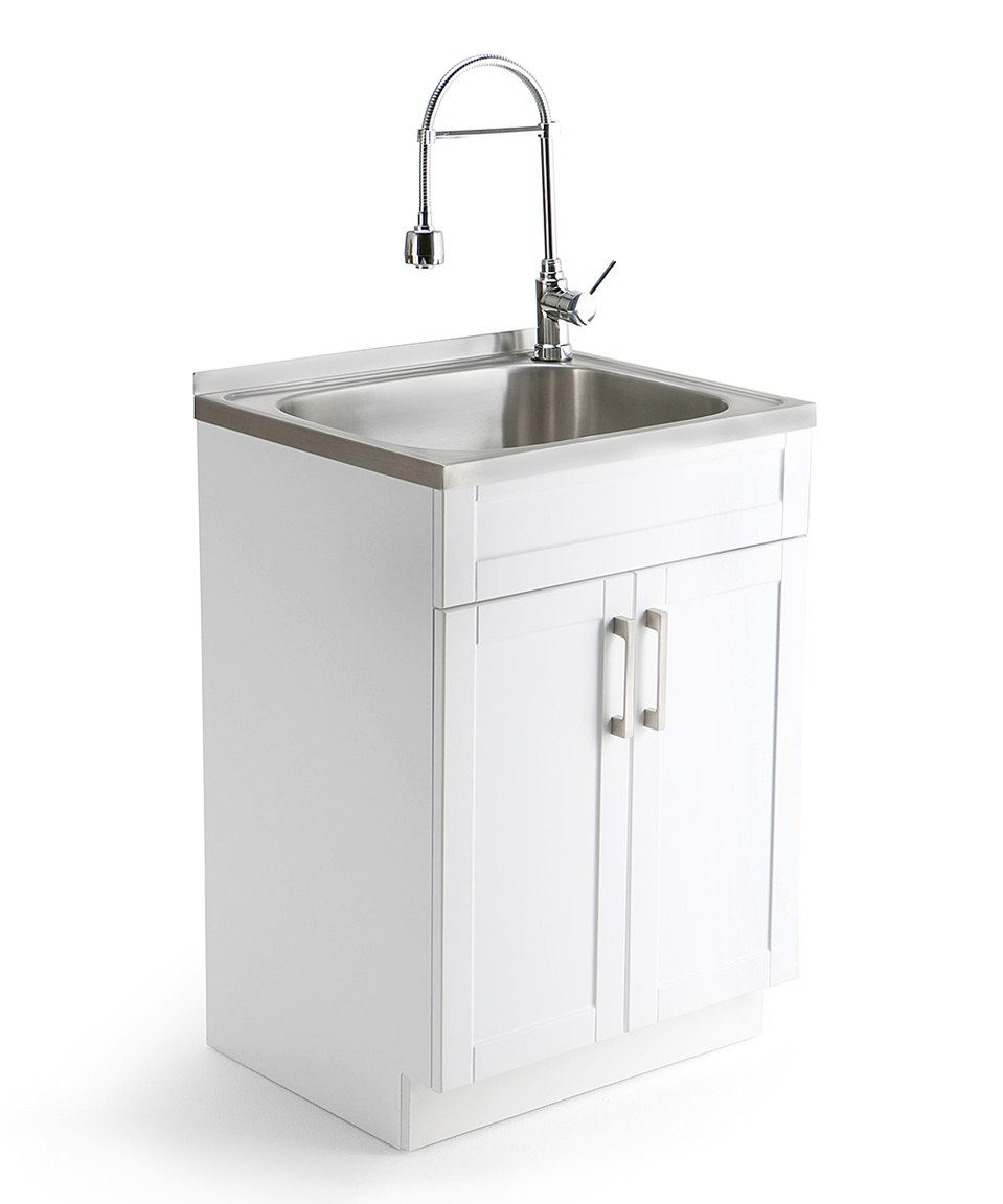 Look For Laundry Cabinet Sinks For The 1 2 Bath This Simpli Home Hennessy Laundry Cabinet By Simpli Home Is P Laundry Cabinets Laundry Room Sink Laundry Sink