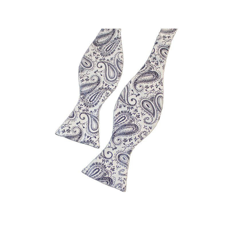 Fliege Weiss Mit Paisley Muster Lila Farbe Paisley Muster