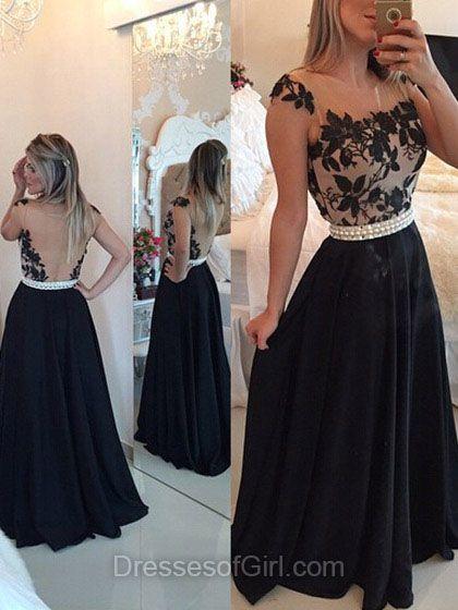 Black Prom Dresses, Long Prom Dress, Open Back Evening Gowns, Satin Party Dresses, Aline Formal Dresses