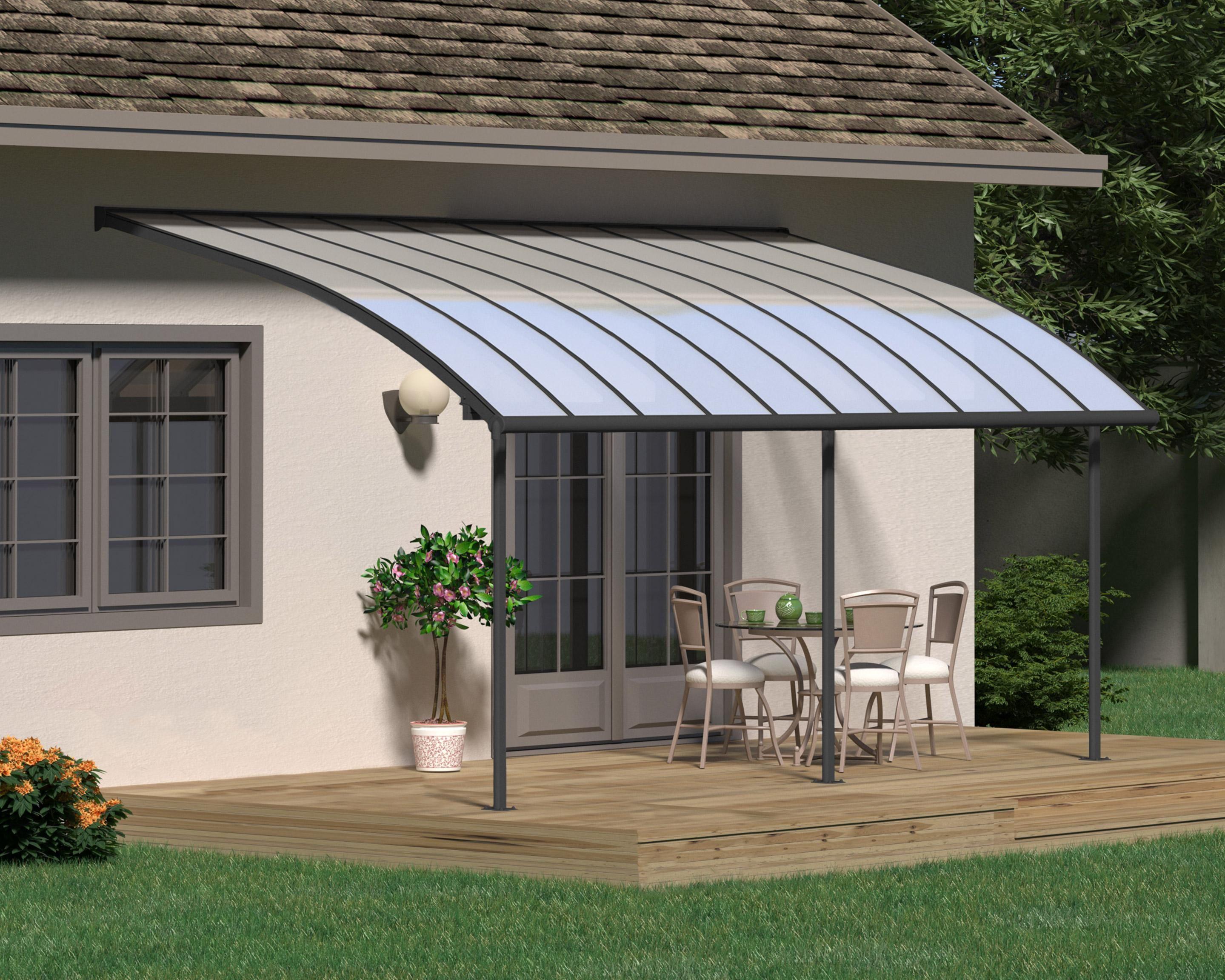 Pergola Adossee Grise Joya 25 4 M Aluminium Et Polycarbonate Palram En 2020 Eclairage De Pergola Terrasse Design Et Ombre De Pergola