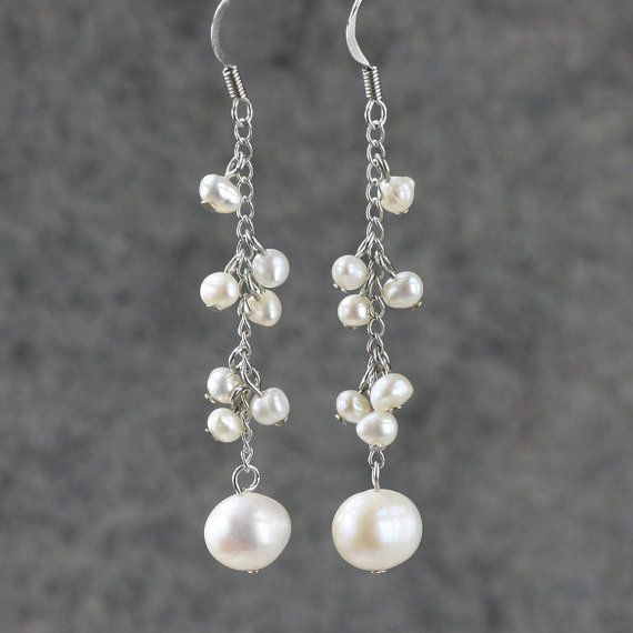 Cluster of dangling pearls fabulous feminine fashion affordable statement earrings