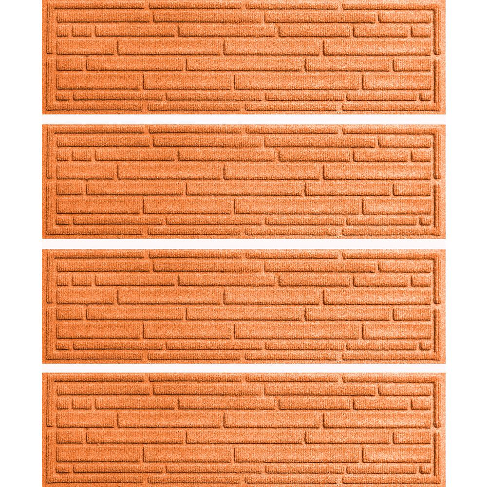 Aqua Shield Orange 8 5 In X 30 In Broken Brick Stair Tread Cover | Outdoor Rubber Stair Treads Home Depot | Riser | Coin Grip | Rubber Cal | Stair Mats | Recycled Rubber