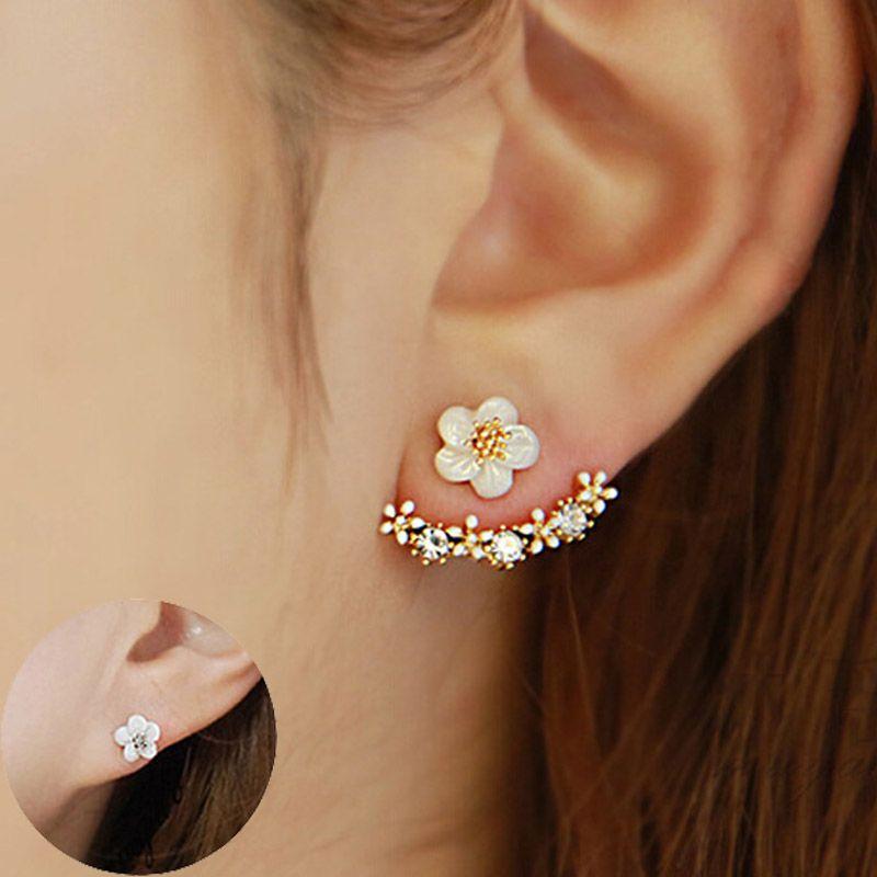 Fashion Femmes élégante fleur cristal Strass Ear Stud Boucles d/'oreilles Bijoux 1 Paire