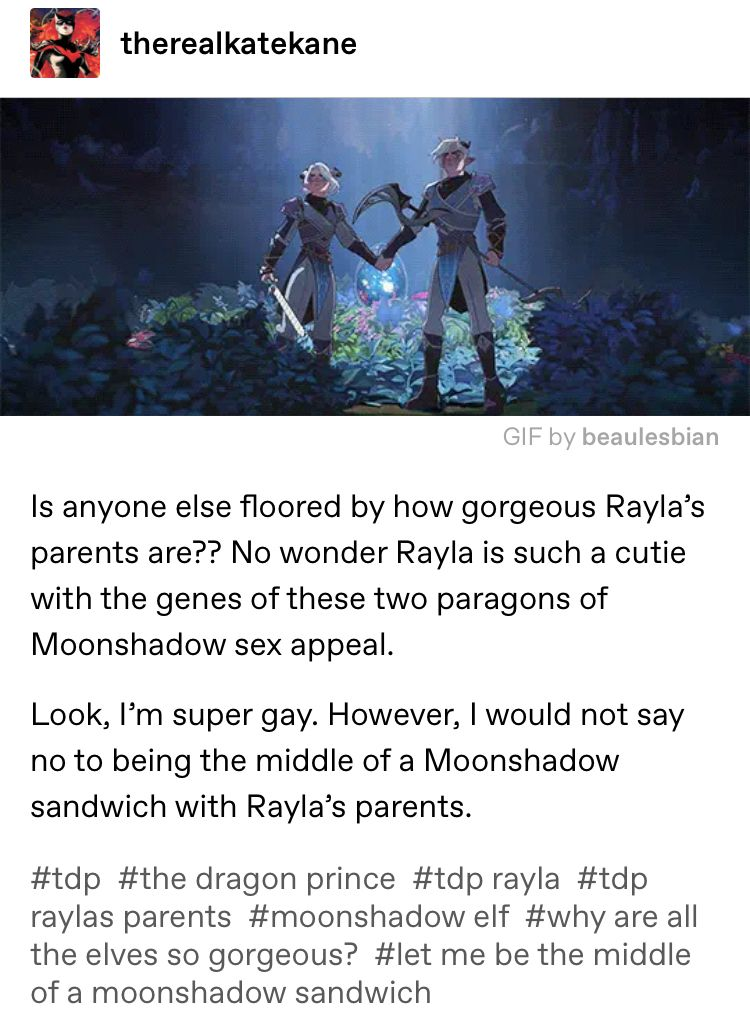 How are both of Rayla's parents so stupid hot?