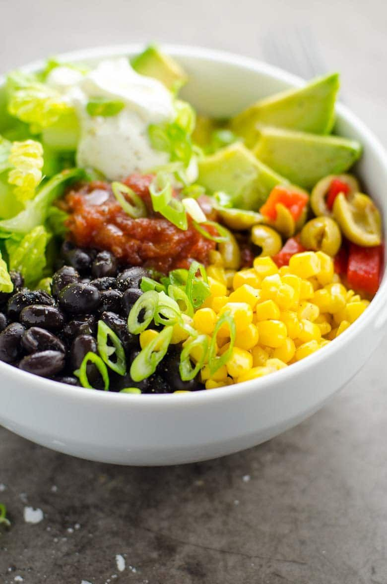 5 minute black bean taco bowls from the pantry freezer