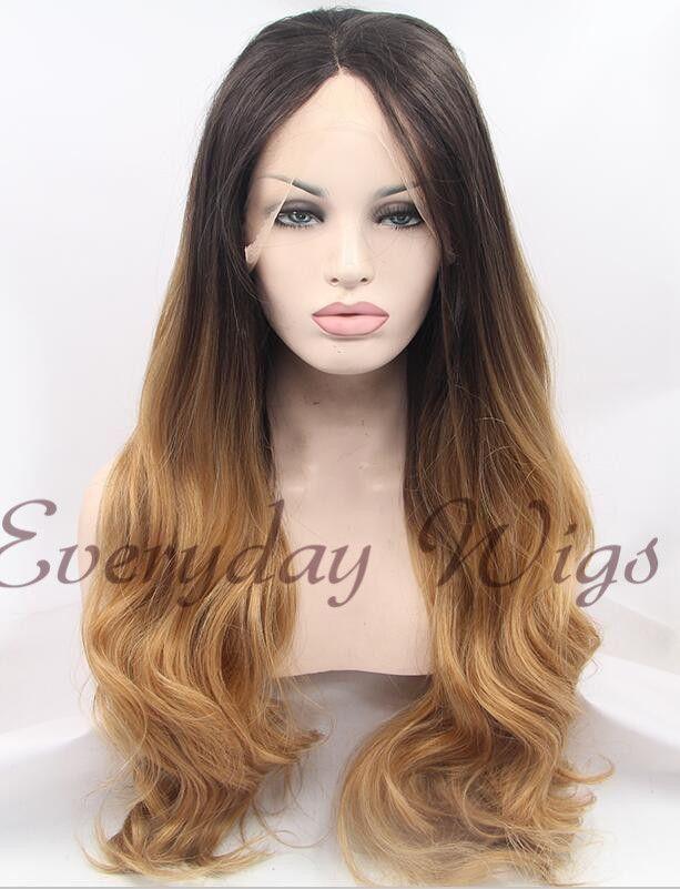 Dark Honey Blonde Ombre Wavy Synthetic Wigs Edw1013 Wigs