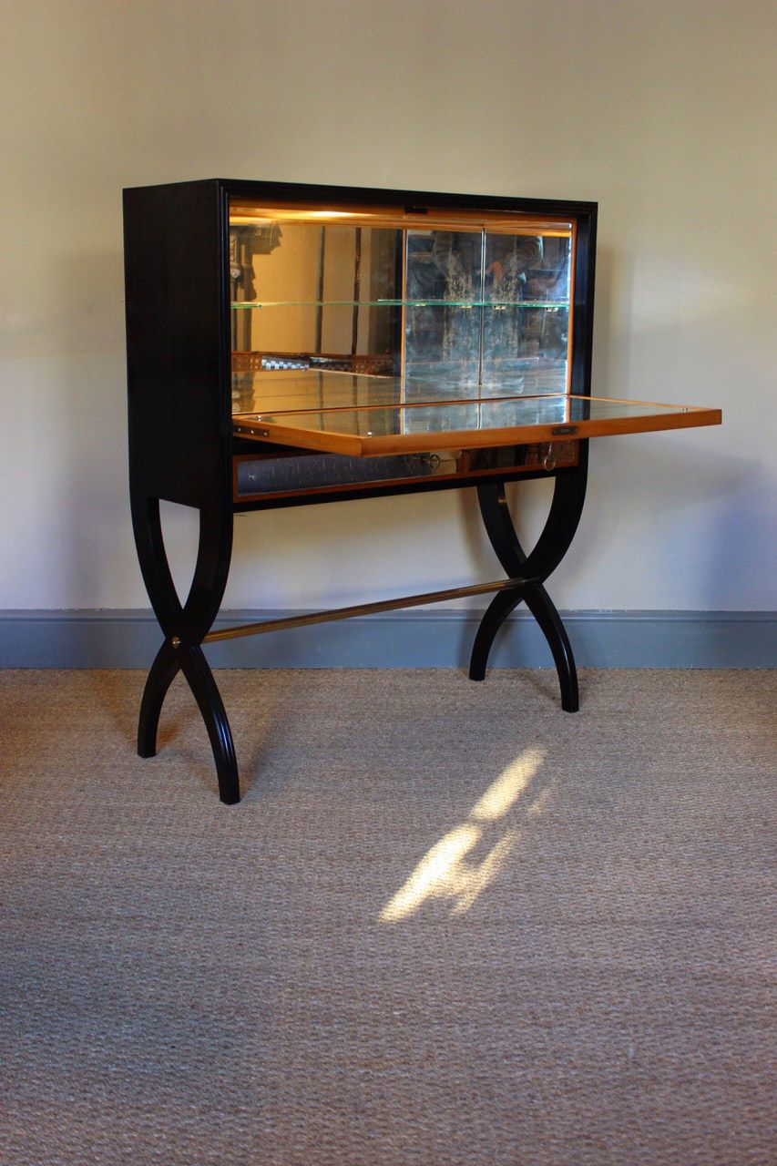 Antique Ebonised Mirrored Display Cabinet Antiques