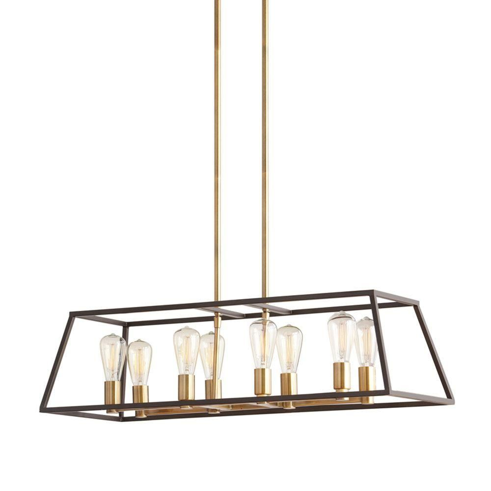 Monteaux Lighting Retro 8 Light Antique Brass With Dark Bronze Pendant Dining RoomsBronze
